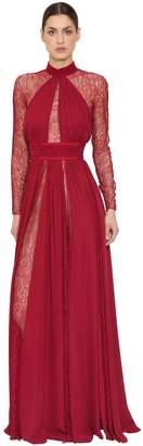 Silk Georgette & Lace Dress