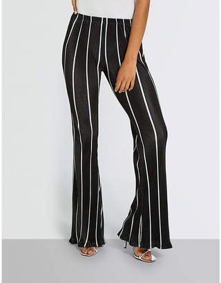 Missguided Striped woven plisse trousers