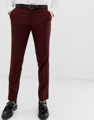Asos Design DESIGN skinny smart pants in burgundy