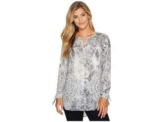 Tribal Long Sleeve Printed Tunic w/ Laser Cut Combo Women's Blouse