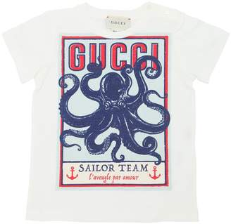Gucci Octopus Print Cotton Jersey T-Shirt