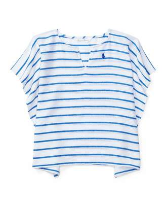 Ralph Lauren Striped Cotton Swim Coverup, Blue, Size 9-24 Months