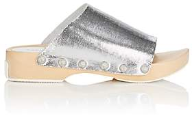 Opening Ceremony WOMEN'S NYKOLA STAMPED LEATHER CLOGS - SILVER SIZE 5