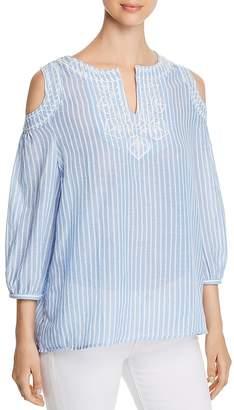 Avec Embroidered Stripe-Print Cold-Shoulder Top