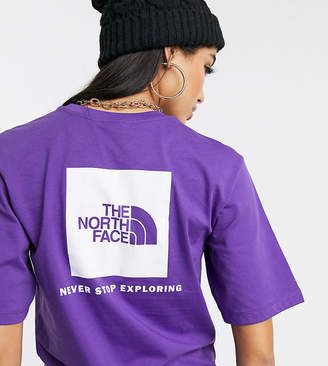The North Face Boyfriend Red Box t-shirt in purple Exclusive at ASOS