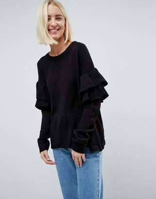 Brave Soul Tulip Sweater With Double Frill Sleeve