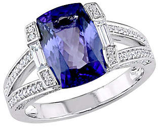 QVC 14K Gold 3.20 cttw Cushion Tanzanite & 1/2 cttw