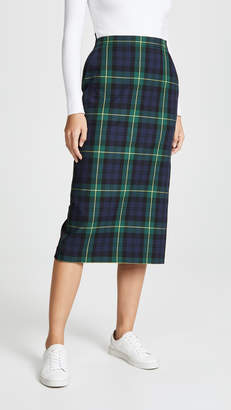 pushBUTTON Plaid Combo Midi Skirt
