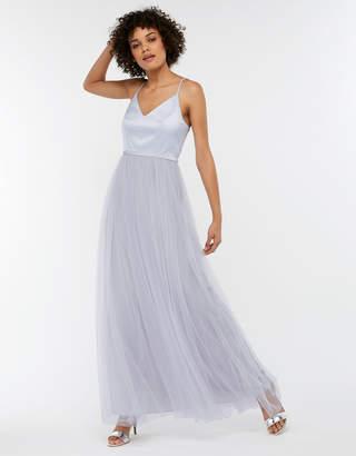 Monsoon Hollyanne Satin & Tulle Maxi Bridesmaid Dress