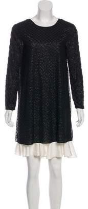 Needle & Thread Long Sleeve Beaded-Accented Mini Dress w/ Tags