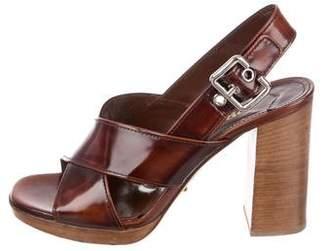 Prada Patent Leather Sling-Back Sandals
