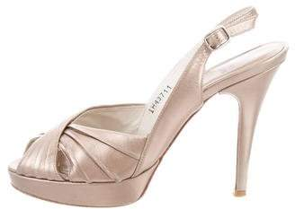 Stuart Weitzman Metallic Peep-Toe Pumps