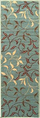 Ottomanson Otto Home Contemporary Leaves Design Modern Runner Rug with Non-Skid Rubber Backing