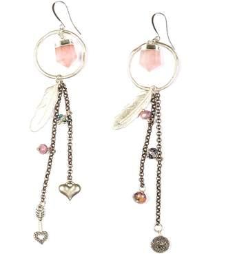 Tiana Jewel Holly Rose Quartz Hoop Tassel Charm Earrings