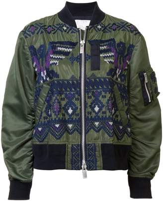 Sacai embroidered bomber jacket