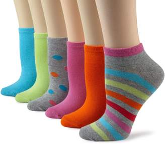 K. Bell K-Bell Women's 6-Pack No-Show Stripes & Dots Socks