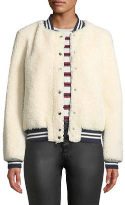 Belle Fare Lamb Fur & Contrast Baseball Jacket