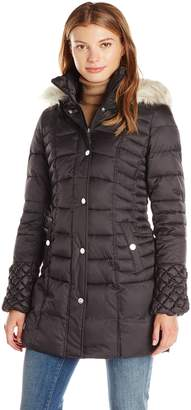faf3bd32834 Betsey Johnson Women s 3 4 Puffer with Popcorn Detailed Sleeve Cinched  Waist Faux