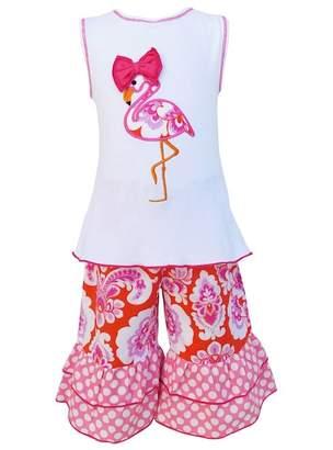 AnnLoren Hot Pink Flamingo Tunic & Capri Set (Baby, Toddler, Little Girls, & Big Girls)