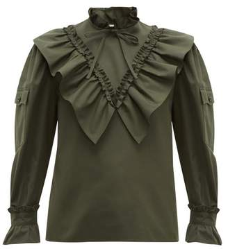 Miu Miu Ruffled High Neck Cotton Blouse - Womens - Dark Green