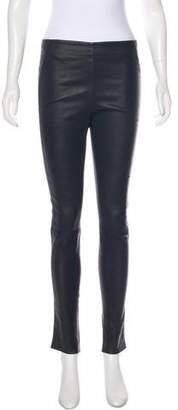Veronica Beard Leather Mid-Rise Leggings