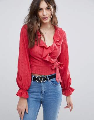 Fashion Union Wrap Front Shirt With Ruffle Layer In Broderie
