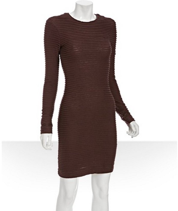 Kimberly Ovitz burgundy ribbed cotton-wool long sleeve knit dress