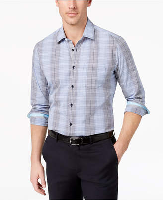 Ryan Seacrest Distinction Men's Slim-Fit Blue Grid Sport Shirt, Created for Macy's