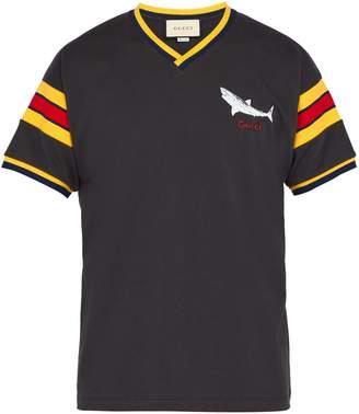 Gucci Shark-print V-neck T-shirt
