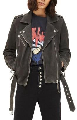 Women's Topshop Moon Suede Biker Jacket $370 thestylecure.com