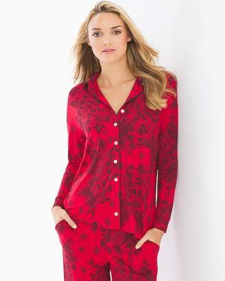 Cool Nights Long Sleeve Notch Collar Pajama Top Fine Lace Festive Red