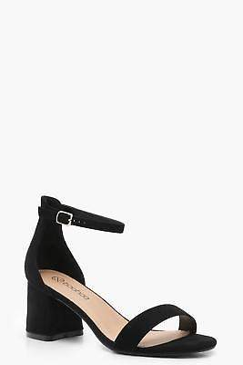 boohoo NEW Womens Extra Wide Fit Suedette Block Heels in