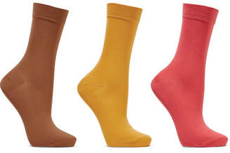 Falke Set Of Three Cotton-blend Socks - Brown