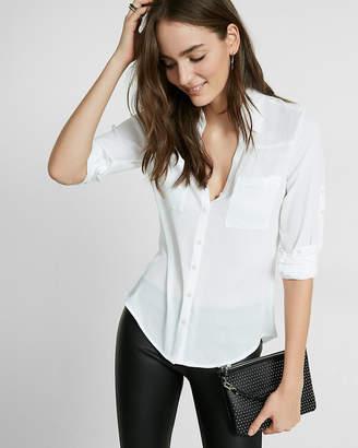 Express Petite Slim Fit Convertible Sleeve Portofino Shirt