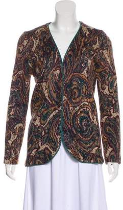 St. John Suede-Trimmed Knit Cardigan