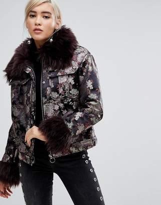 363d0c6cde Lost Ink Jacket In Metallic Brocade With Faux Fur Trim
