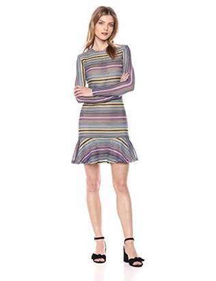 Elliatt Women's Apparel Women's Gem Long Sleeve Striped Knit Ruffle Hem Short Dress