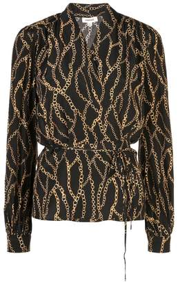 L'Agence chain printed wrap blouse