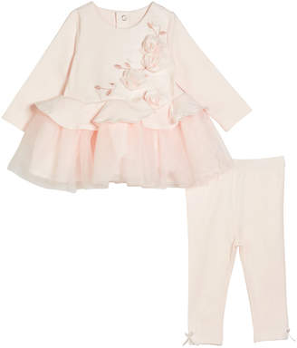 Miniclasix Embroidered & Rosette Long-Sleeve Peplum Top w/ Matching Leggings, Size 3-24 Months