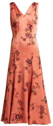 Erdem Honora Satin Dress - Womens - Pink Multi