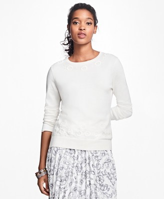 Brooks Brothers Floral-Embroidered Supima Cotton Crewneck Sweater