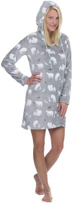 Munki Munki Women's Gray Polar Bear Hood Nightshirt