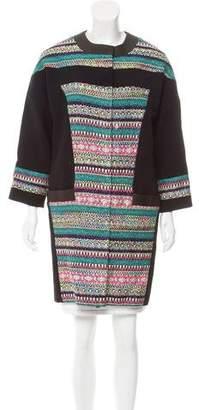 Prabal Gurung Leather-Trimmed Wool Coat