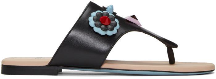 Fendi Black Fendi Faces Sandals