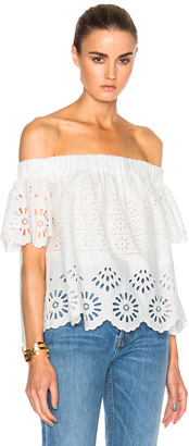 Sea Eyelet Off The Shoulder Top $325 thestylecure.com