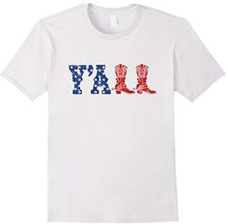 Y'ALL T-Shirt American Flag Western Country Cowgirl Tee