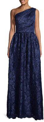 Carmen Marc Valvo Lace Sequin Pleated Gown
