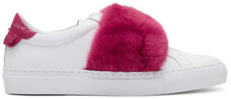 Givenchy White and Pink Fur Urban Knots Sneakers