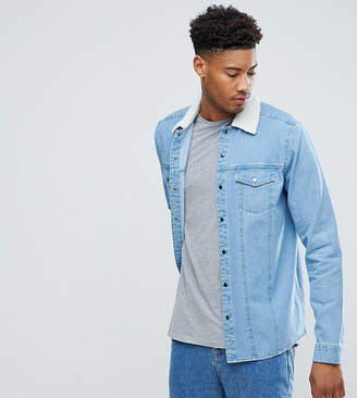 Asos TALL Denim Overshirt With Borg Outershell In Mid Wash
