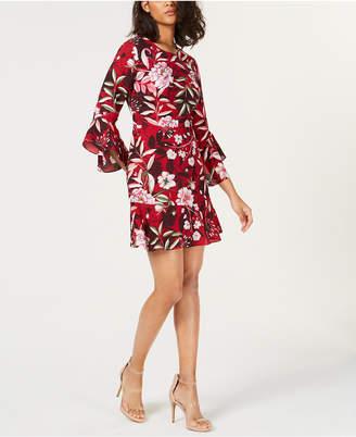 Bar III Printed Bell-Sleeve Dress, Created for Macy's